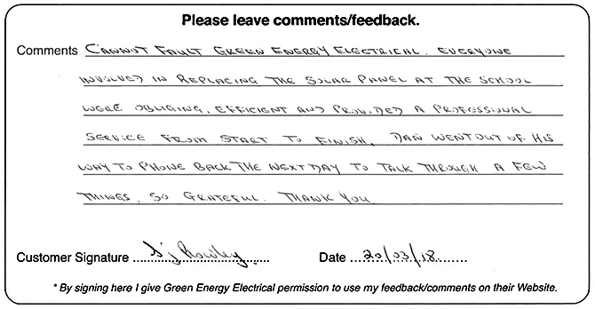 Cannot fault Green Energy Electrical.